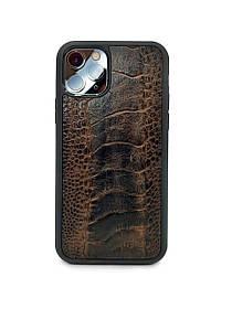 Чехол для iPhone 11 Pro коричневого цвета из кожи Страуса