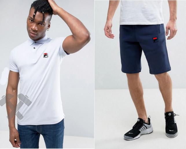 Мужской комплект поло + шортыв стиле FILA белого и синего цвета