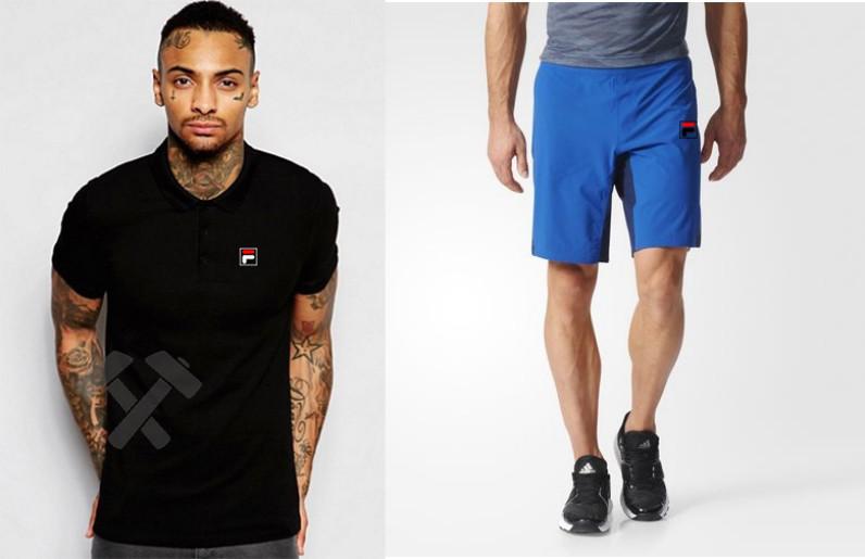 Мужской комплект поло + шортыв стиле FILA черного и голубого цвета
