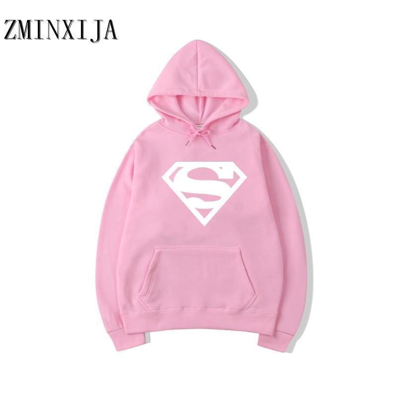 Худи Superman розовое, унисекс (мужское, женское, детское)