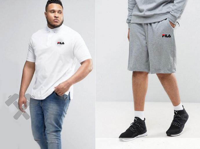 Мужской комплект поло + шортыв стиле FILA белого и серого цвета