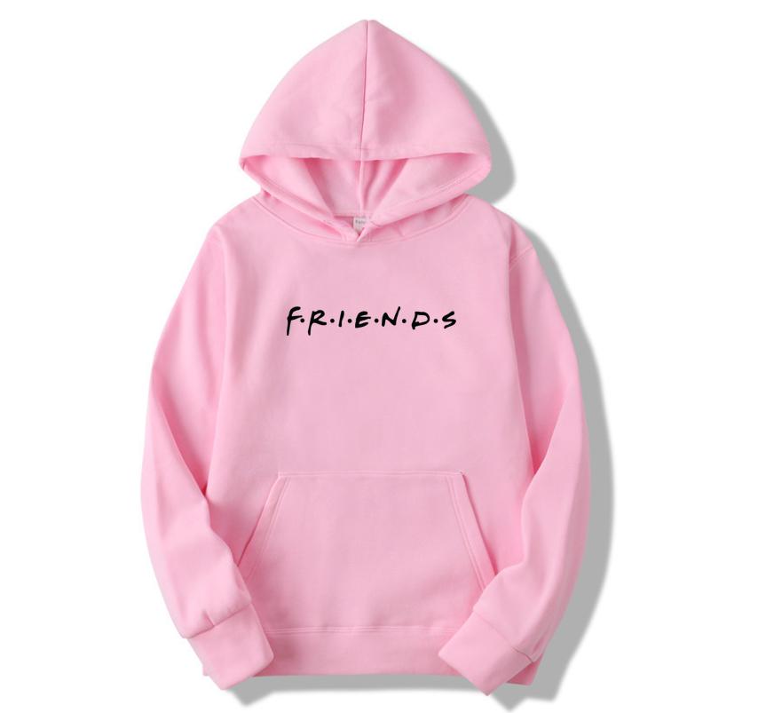 Худи Friends (друзья, друзi) розовое с черным логотипом, унисекс (мужское, женское, детское)