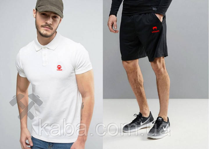 Мужской комплект поло + шорты VENUM белого и черного цвета