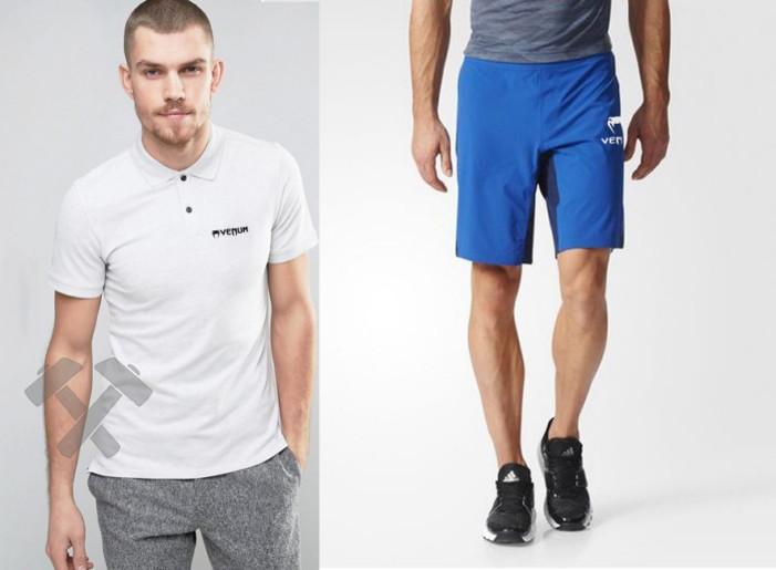 Мужской комплект поло + шорты VENUM белого и голубого цвета