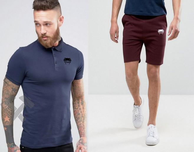 Чоловічий комплект поло + шорти VENUM синього і червоного кольору