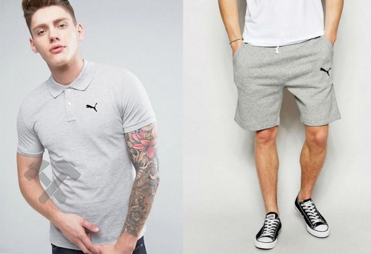 Чоловічий комплект поло + шорти PUMA білого і сірого кольору