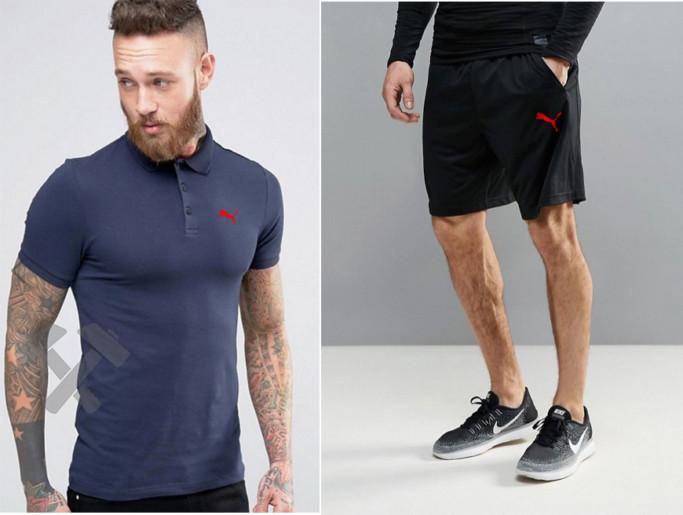 Мужской комплект поло + шорты PUMA черного и синего цвета