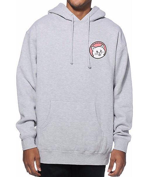 Худи Ripndip Dont Be A Pussy серое с логотипом, унисекс (мужское, женское, детское)