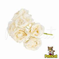 Декоративные бежевые розы диаметр 4 см 1 шт