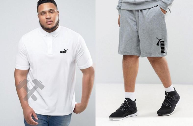 Мужской комплект поло + шорты PUMA белого и серого цвета