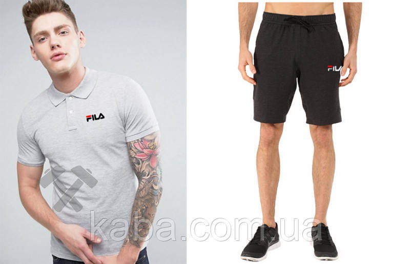 Мужской комплект поло + шортыв стиле FILA серого и черного цвета