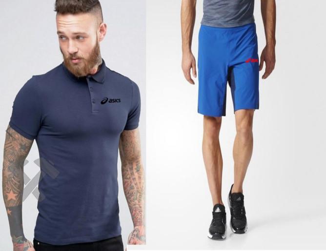 Мужской комплект поло + шорты Asics синего и голубого цвета