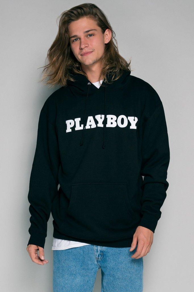 Худи Playboy черное с лого, унисекс (мужское, женское, детское)