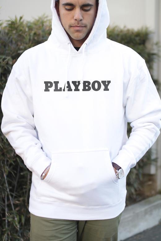 Худи Playboy белое с логотипом, унисекс (мужское, женское, детское)