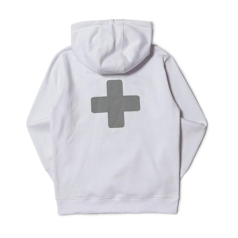 Худи Places+Faces 2019 белое с серым логотипом, унисекс (мужское, женское, детское)
