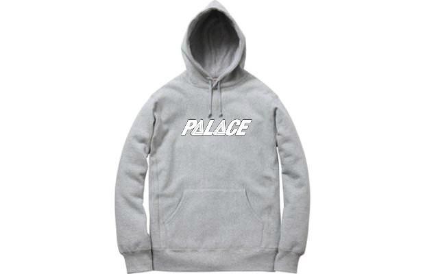 Худи Palace 2019 серое с белым логотипом, унисекс (мужское, женское, детское)