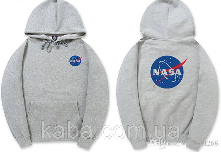 Худи NASA Two-Sided серое, унисекс (мужское, женское, детское)