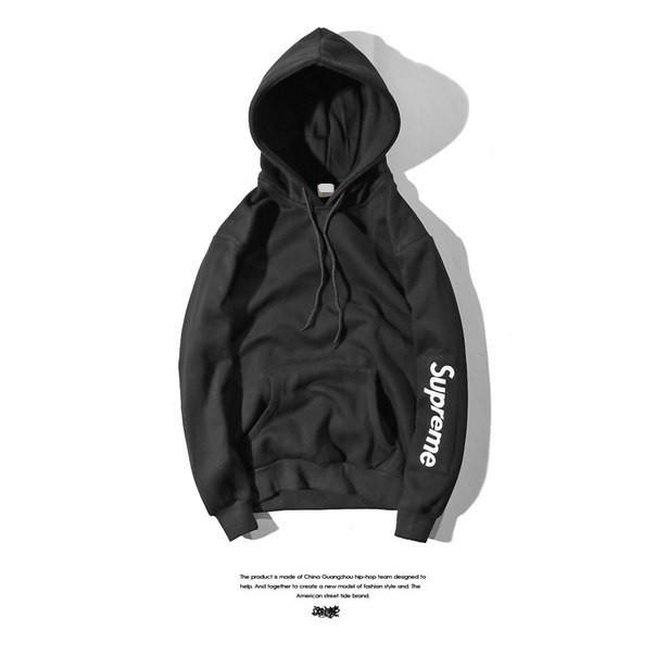 Худи Supreme 2019 черное с белым логотипом, унисекс (мужское, женское, детское)