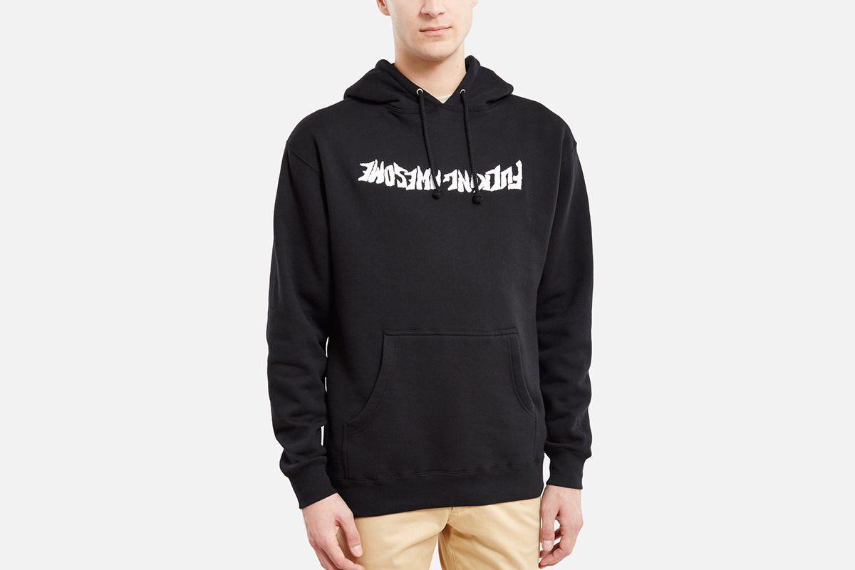 Худи Fucking Awesome черное с белым логотипом, унисекс (мужское, женское, детское)