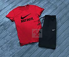 Мужской комплект футболка + шорты в стиле Nike черного и красного цвета