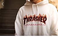 Худи мужская в стиле Thrasher  TRASHER Magazine белая