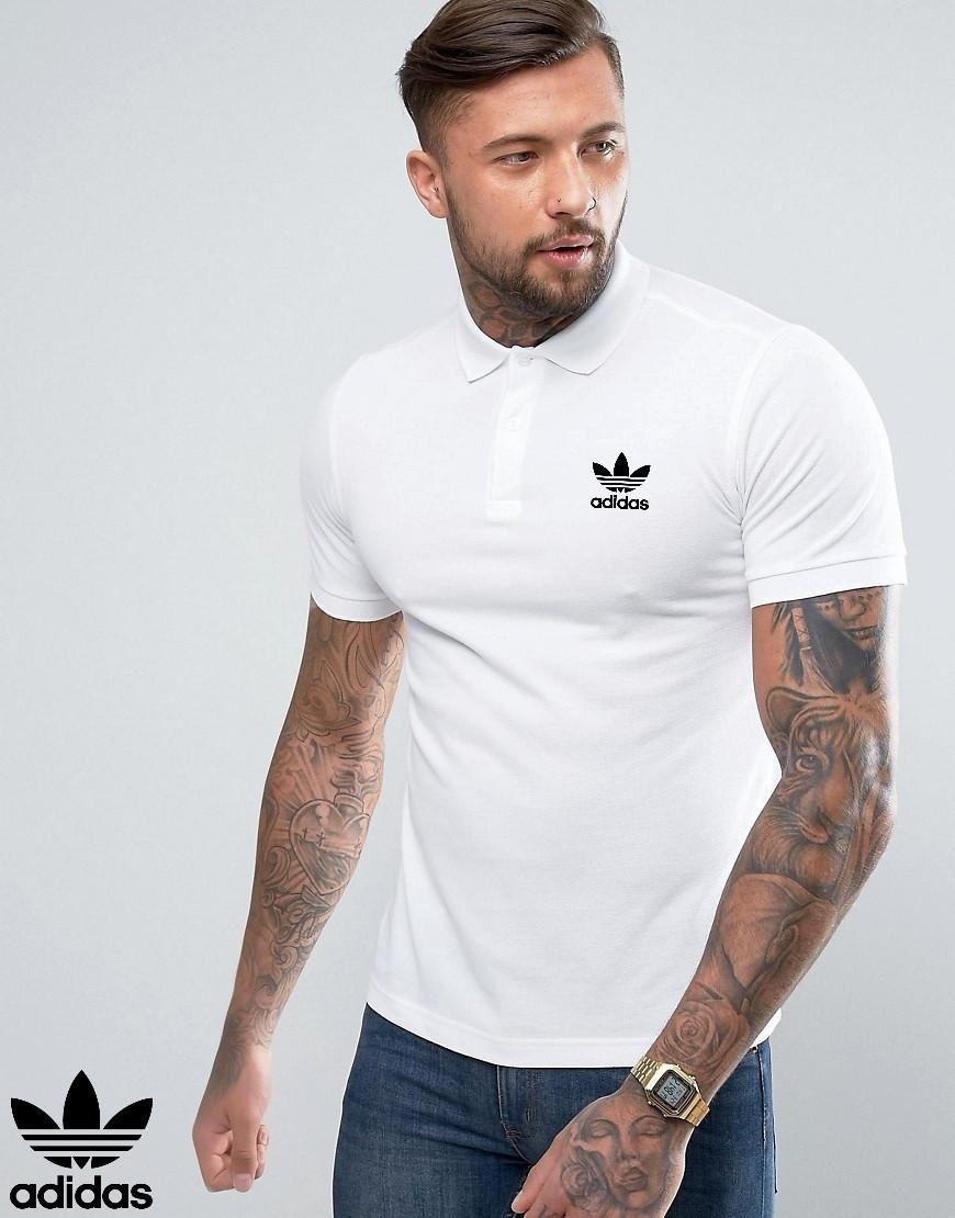 Футболка Поло в стилі Adidas | Біла теніска Адідас