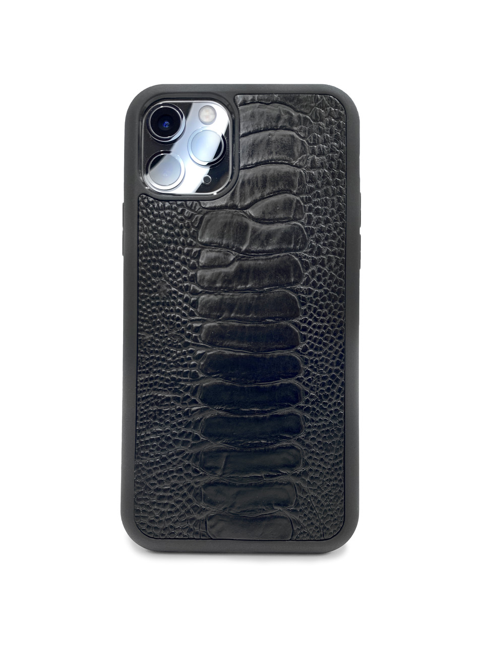 Чехол для iPhone 11 Pro чёрного цвета из кожи Страуса