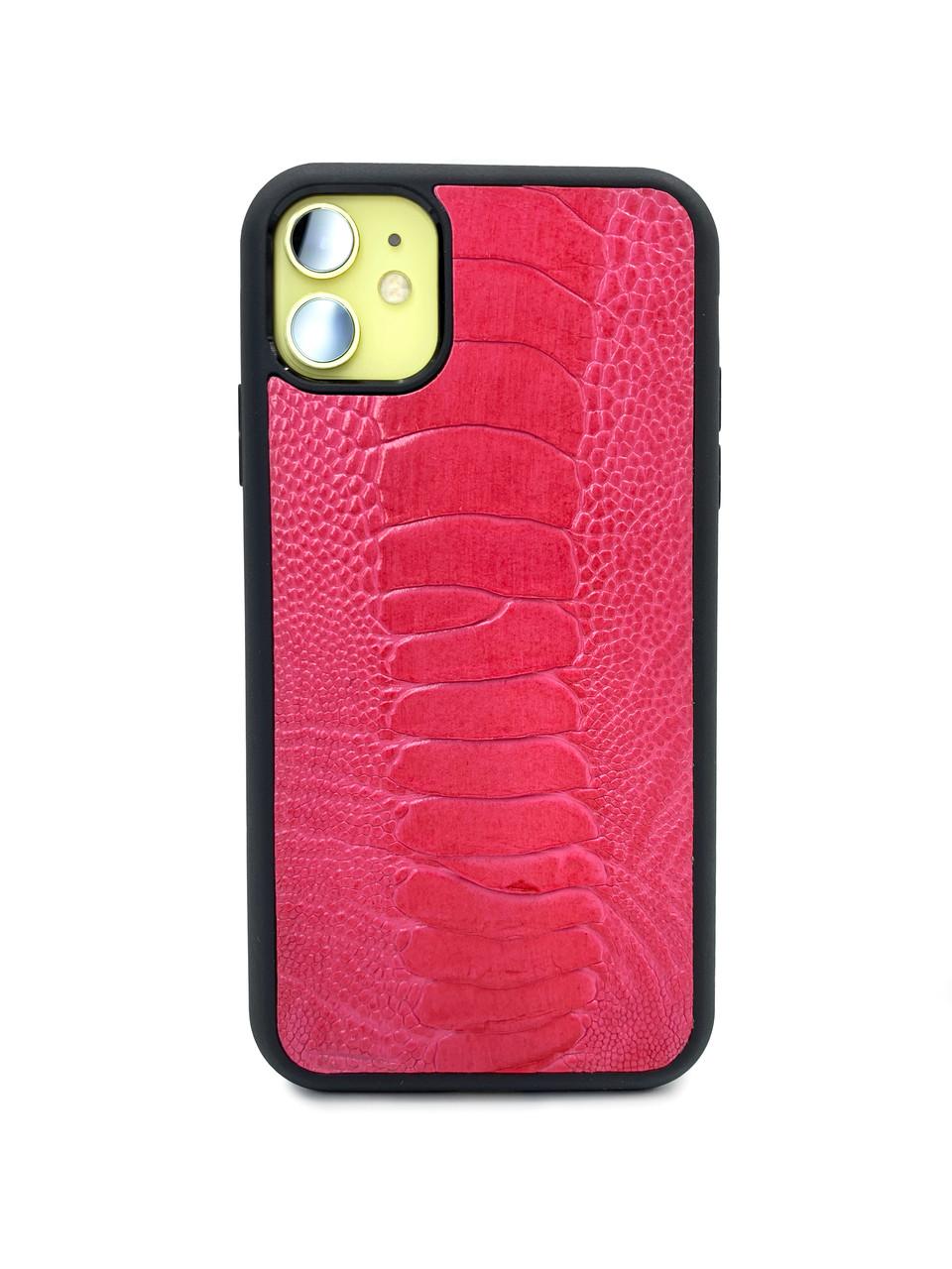 Чехол для iPhone 11 красно-розового цвета из кожи Страуса