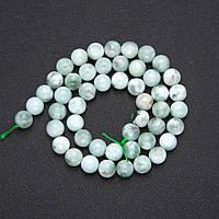 Бусины натуральный камень Зеленый Ангелит гладкий шарик d-8(+-)мм L-38см