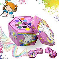 Набор для детского творчества и рисования Painting Set 46 предметов Pink 4697-13582, КОД: 1873594