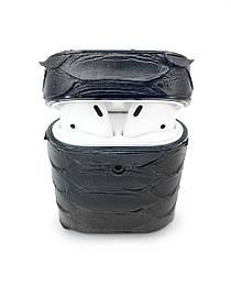Чехол для AirPods 1/2 чёрного цвета из кожи Питона
