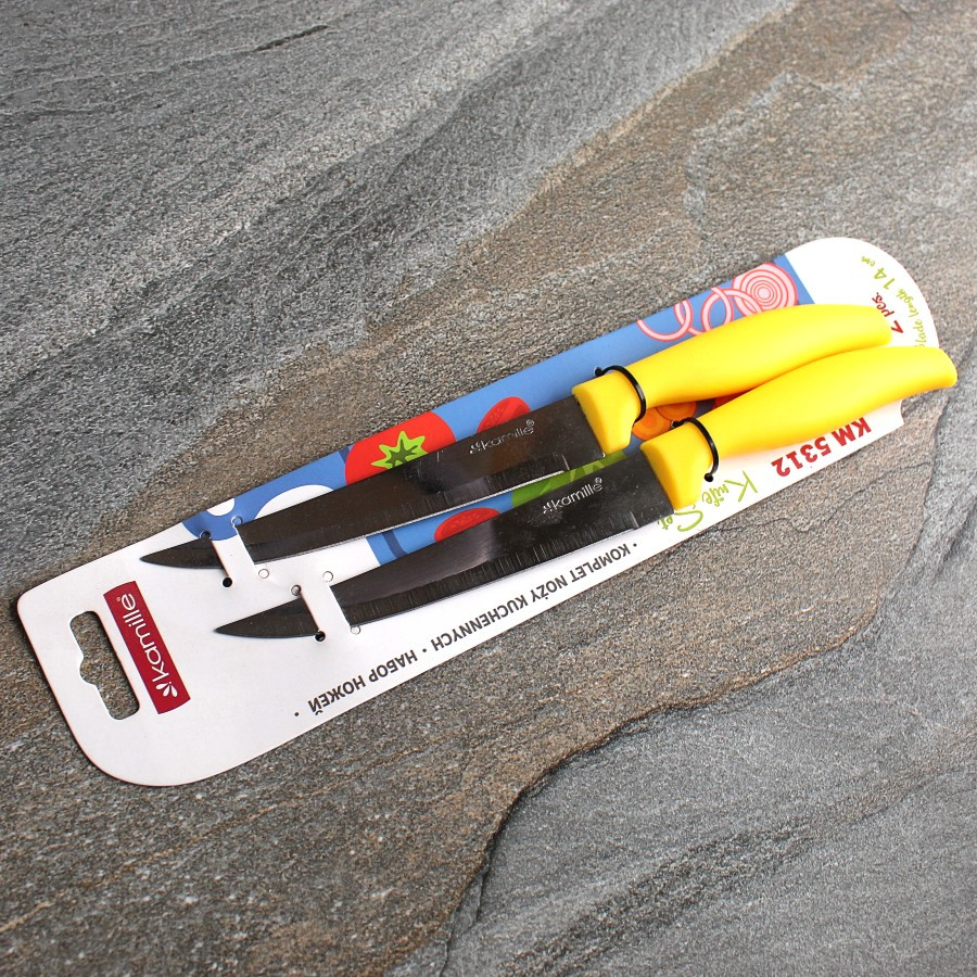 Набір ножів для кухні 2 предмета з нержавіючої сталі з пластиковими ручками Kamille