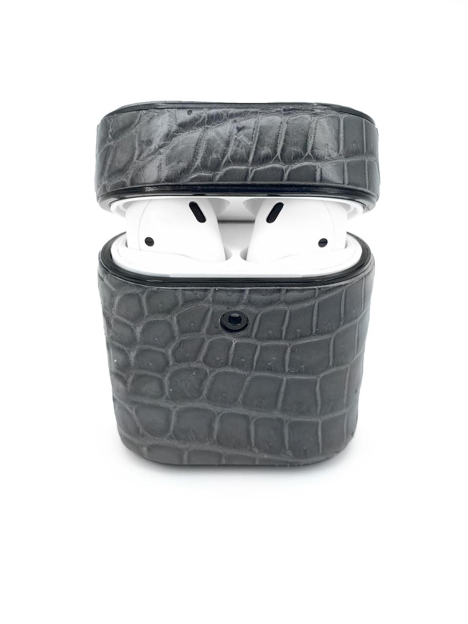 Чехол для AirPods 1/2 серого цвета из кожи Крокодила