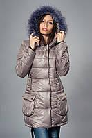 Зимняя женская молодежная куртка. Код К-61-12-16. Цвет капучино.