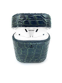 Чехол для AirPods 1/2 винтажно-зелёного цвета из кожи Крокодила