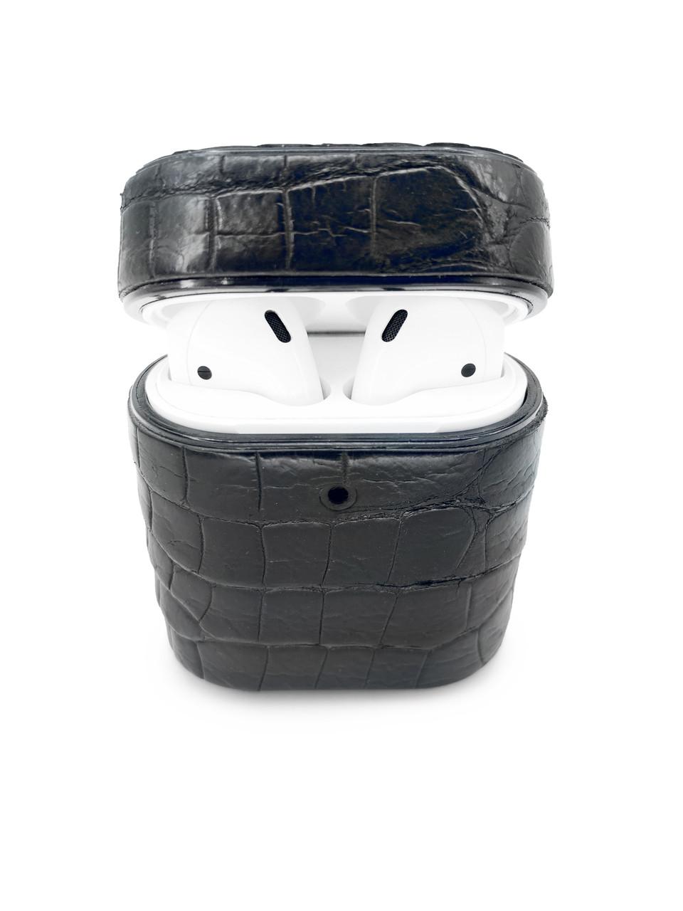 Чехол для AirPods 1/2 чёрного цвета из кожи Крокодила