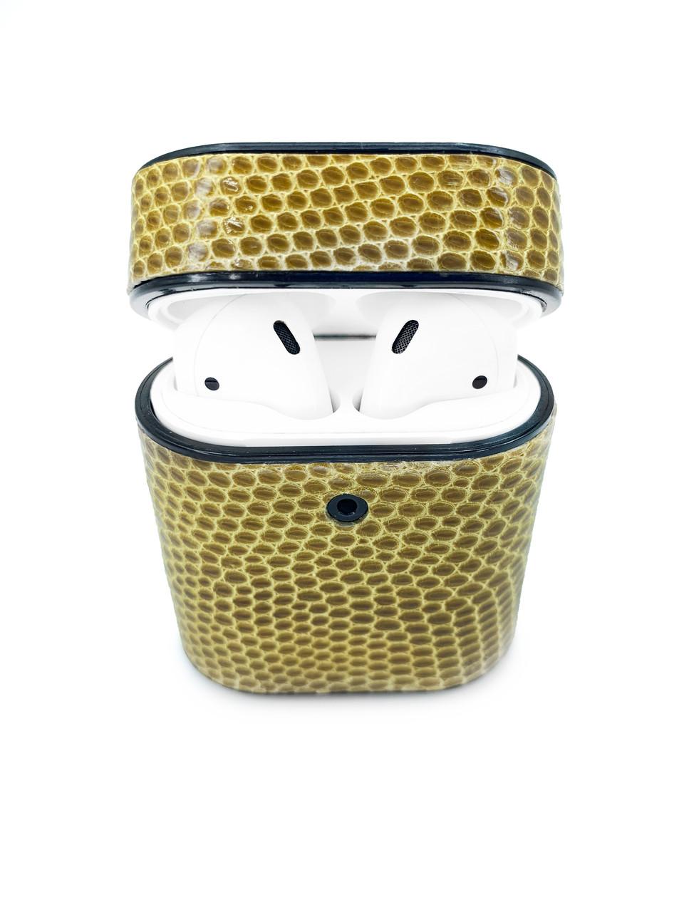 Чехол для AirPods 1/2 жёлтого цвета из кожи Игуаны