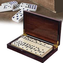 """Настольная игра """"Домино"""" в деревяной коробке (размер 20,5x12,5x4см)"""