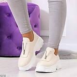 Удобные бежевые женские туфли натуральная кожа с молнией на низком ходу, фото 4