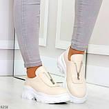 Удобные бежевые женские туфли натуральная кожа с молнией на низком ходу, фото 5
