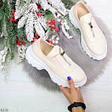 Удобные бежевые женские туфли натуральная кожа с молнией на низком ходу, фото 6