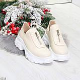 Удобные бежевые женские туфли натуральная кожа с молнией на низком ходу, фото 7