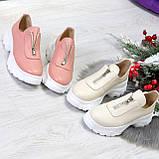 Удобные бежевые женские туфли натуральная кожа с молнией на низком ходу, фото 8