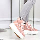 Мега крутые розовые женские спортивные ботинки на молнии на липучке 38-24см, фото 3