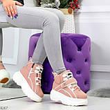 Мега крутые розовые женские спортивные ботинки на молнии на липучке 38-24см, фото 8