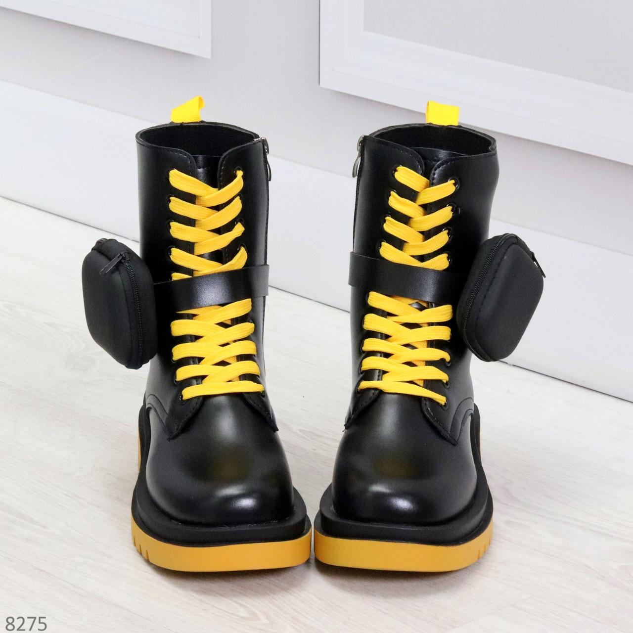 Дизайнерские яркие черные женские ботинки с кошельками на желтой шнуровке