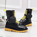 Дизайнерские яркие черные женские ботинки с кошельками на желтой шнуровке, фото 2