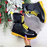 Дизайнерские яркие черные женские ботинки с кошельками на желтой шнуровке, фото 8