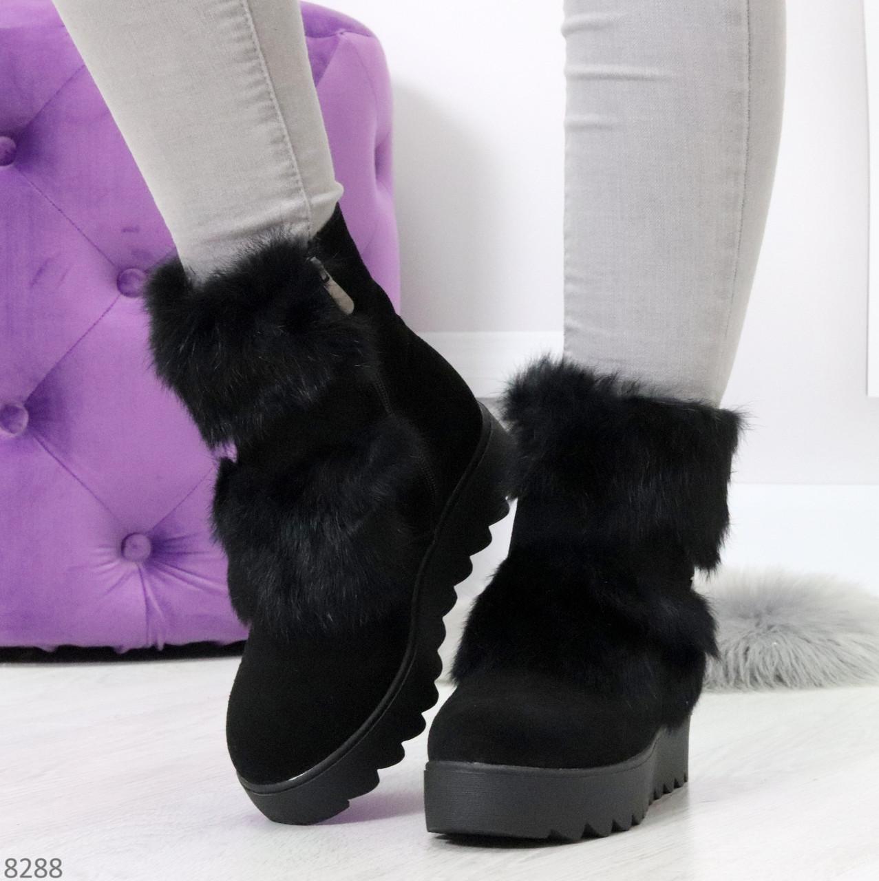 Модельные черные зимние женские ботинки из натуральной замши с опушкой 39-25см