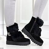 Модельные черные зимние женские ботинки из натуральной замши с опушкой 39-25см, фото 2